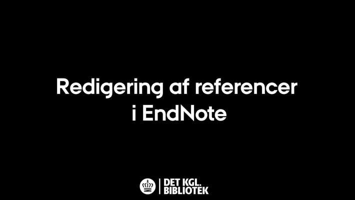 Redigering af referencer i EndNote
