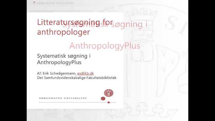 Anthropology Plus - Systematisk søgning